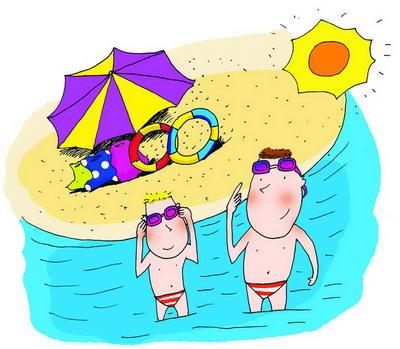 手繪游泳卡通圖片